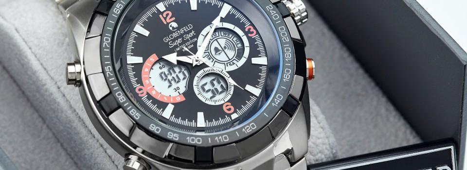 silver black dial box